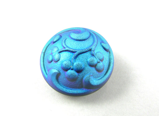 Czech Glass Button Hand Painted, Size 10 (22.5mm | 7/8''), Jet Blue AB, Czech Glass