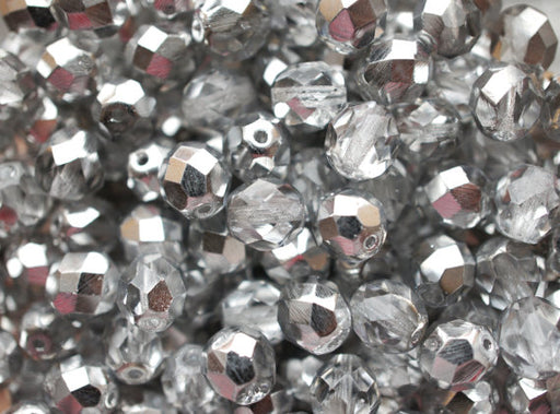 10 pcs Fire Polished Faceted Round Beads, 10mm, Crystal Silver, Czech Glass