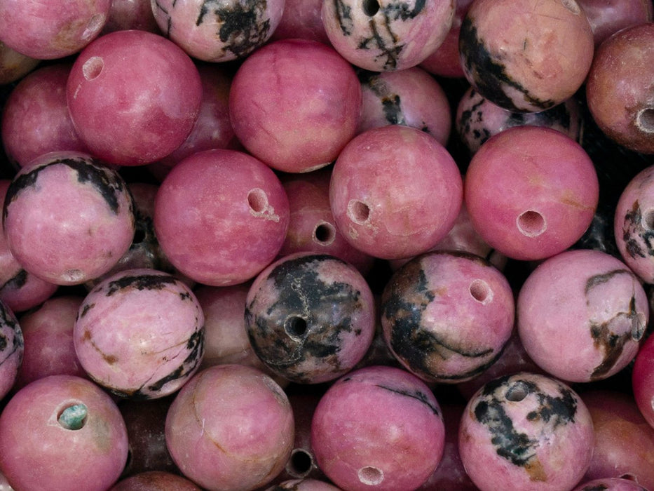 5 pcs Natural Stones Round Beads 10 mm, Rhodonite, Minerals, Russia