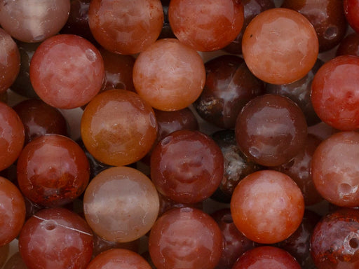 5 pcs Natural Stones Round Beads 10 mm, Chalcedony Agate Brown Pink, Minerals, Russia