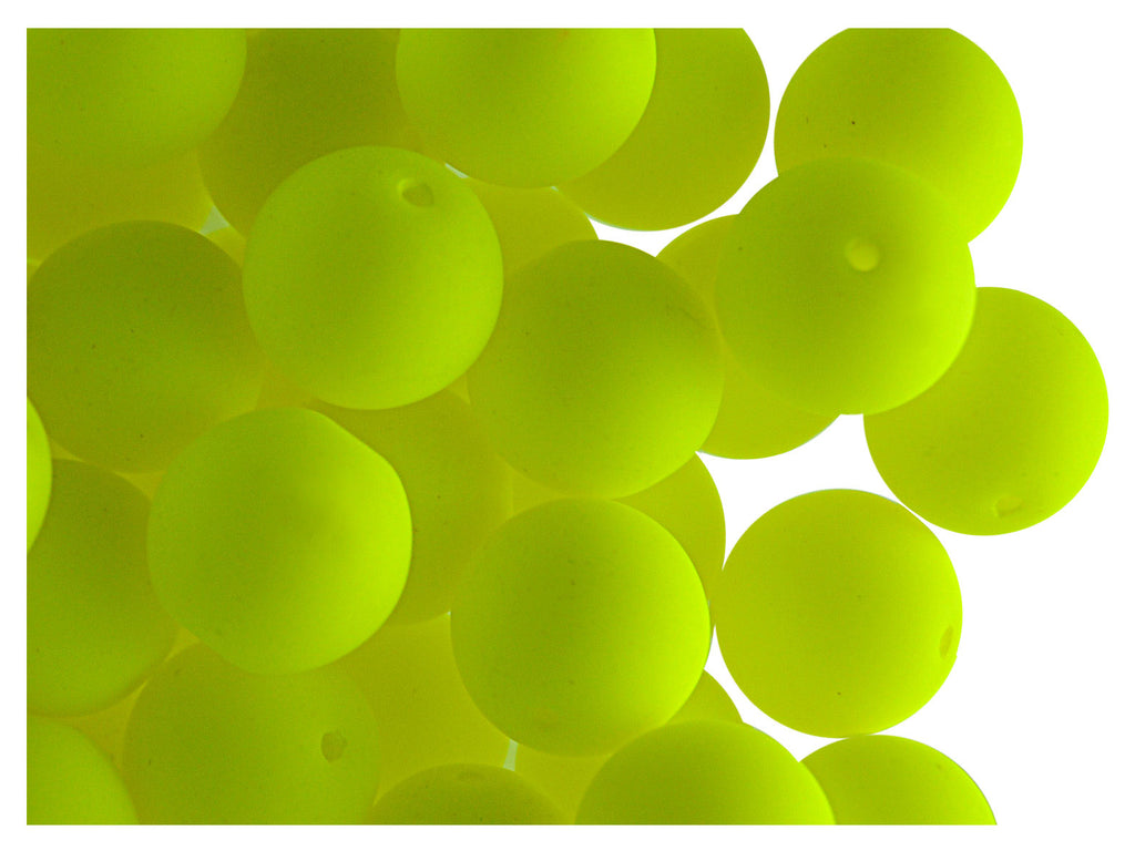 Round NEON ESTRELA Beads, 10mm, Yellow, Czech Glass
