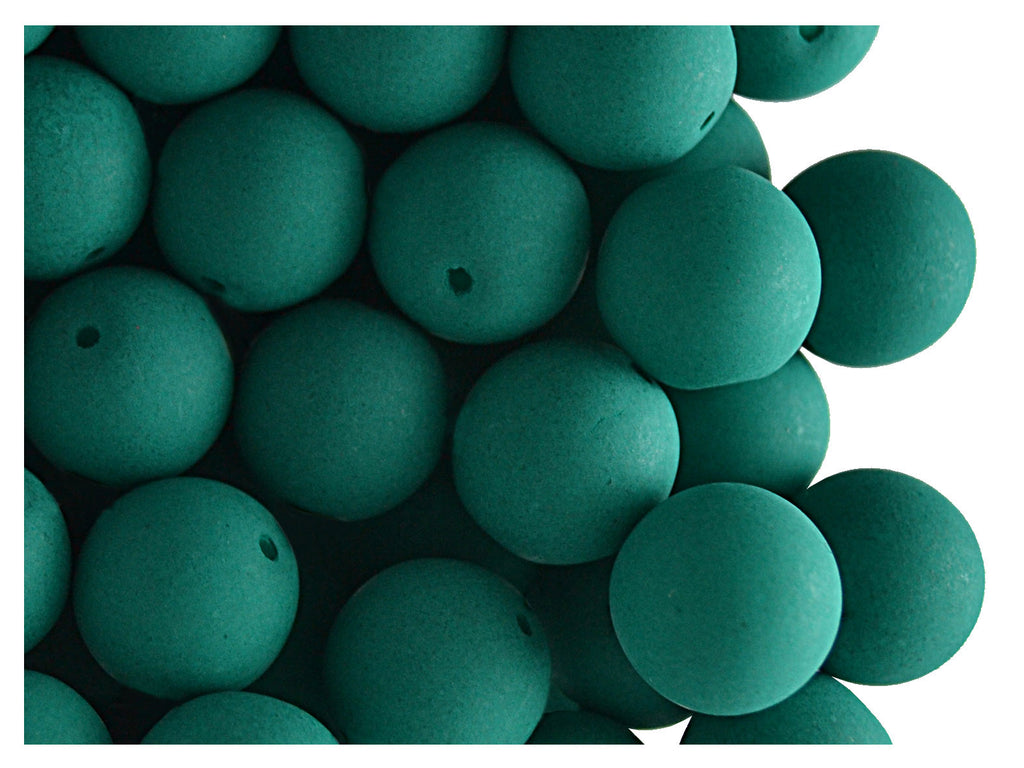 24 pcs Round NEON ESTRELA Beads, 10mm, Emerald Green, Czech Glass