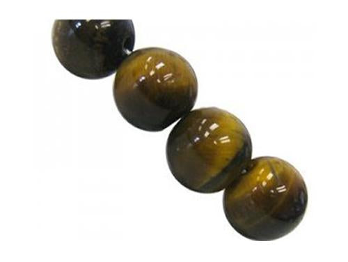 Semi-precious Stone Round Beads 10 mm, Tiger Eye AB, Minerals,