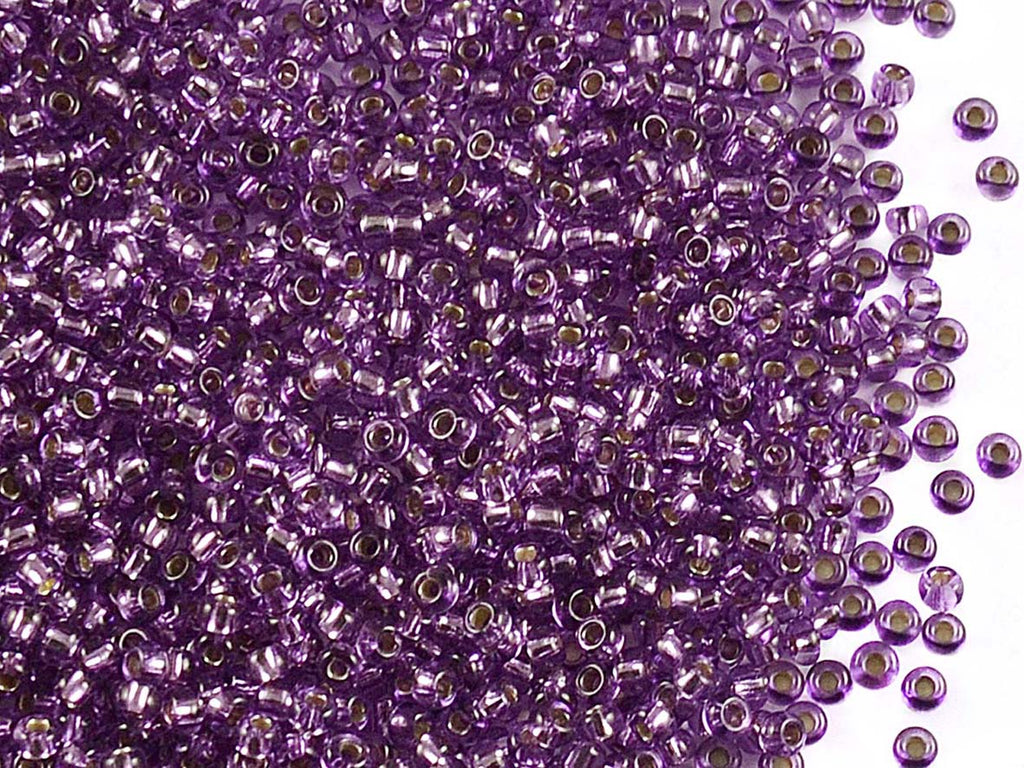 10/0 Seed Beads Preciosa Ornela, Transparent Purple Silver Lined, Czech Glass
