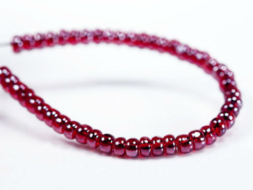 10 g 10/0 1-Cut Seed Beads Charlotte Preciosa Ornela, Ruby White Luster, Czech Glass