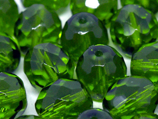 10 pcs Fire-Polished Faceted Beads Round 10mm, Czech Glass, Transparent Olivine