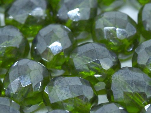 10 pcs Fire-Polished Faceted Beads Round 10mm, Czech Glass, Olivine Shimmer