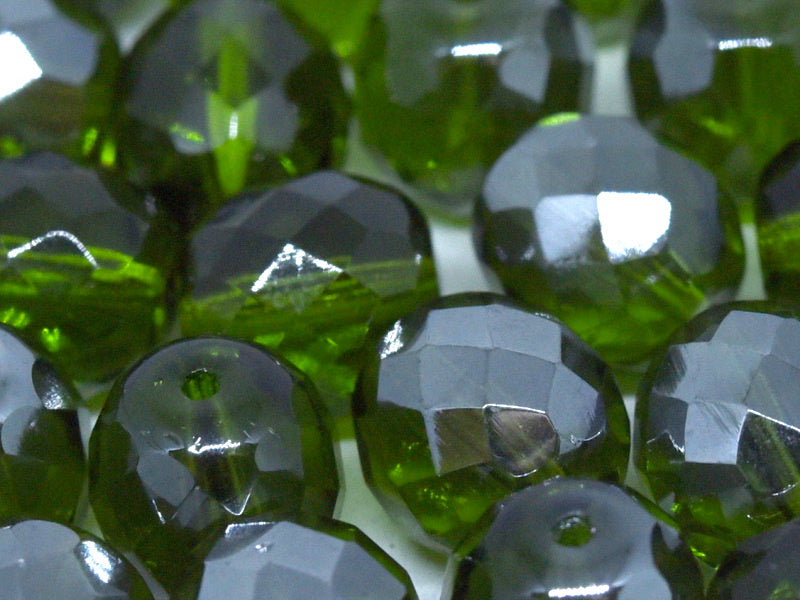 10 pcs Fire-Polished Faceted Beads Round 10mm, Czech Glass, Olivine Vacuum Hematite