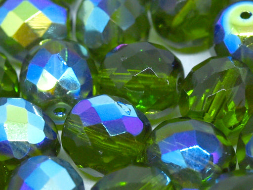 10 pcs Fire-Polished Faceted Beads Round 10mm, Czech Glass, Olivine AB