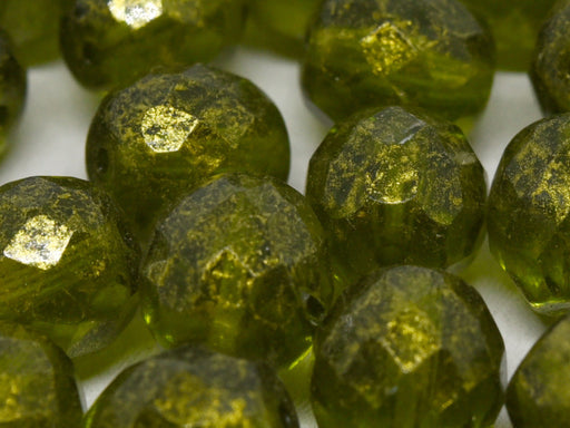 10 pcs Fire-Polished Faceted Beads Round 10mm, Czech Glass, Olivine Gold Picasso