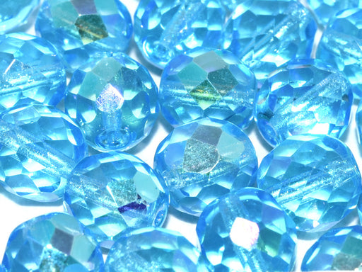10 pcs Fire-Polished Faceted Beads Round 10mm, Czech Glass, Aqua AB