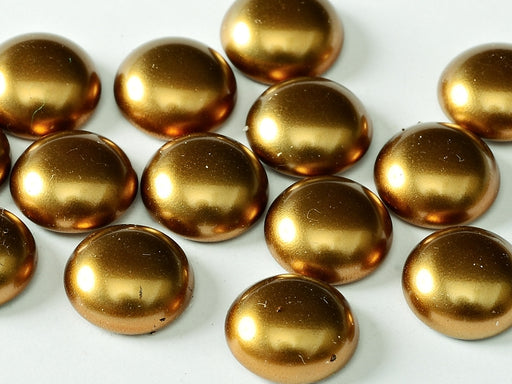 10 pcs Cabochon, 10mm, Brass Gold, Czech Glass