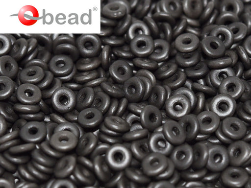 O Beads 4x1 mm, Alabaster Metallic Black, Czech Glass