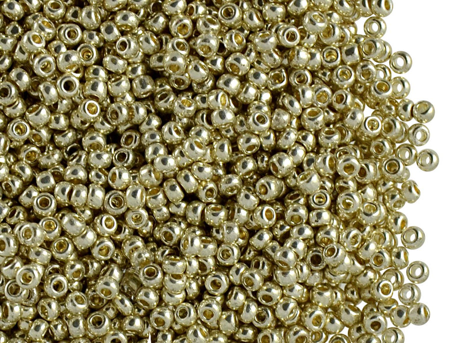 20 g 10/0 Seed Beads Preciosa Ornela, Silver Metallic Light, Czech Glass
