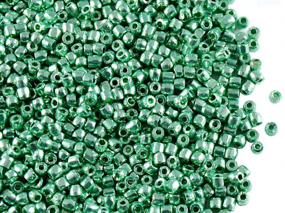 10 g 10/0 3-Cut Seed Beads Preciosa Ornela, Green Metallic, Czech Glass