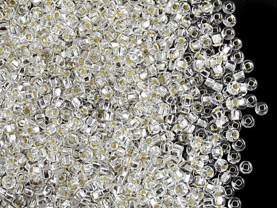 20 g 10/0 Seed Beads Preciosa Ornela, Crystal Clear Silver Lined, Square Hole, Czech Glass