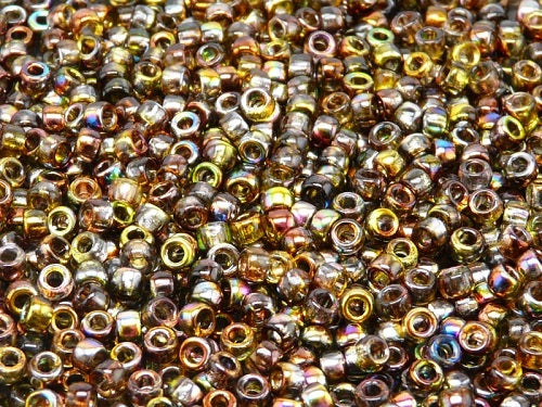 10 g 7/0 Seed Beads MATUBO, Magic Yellow Brown, Czech Glass