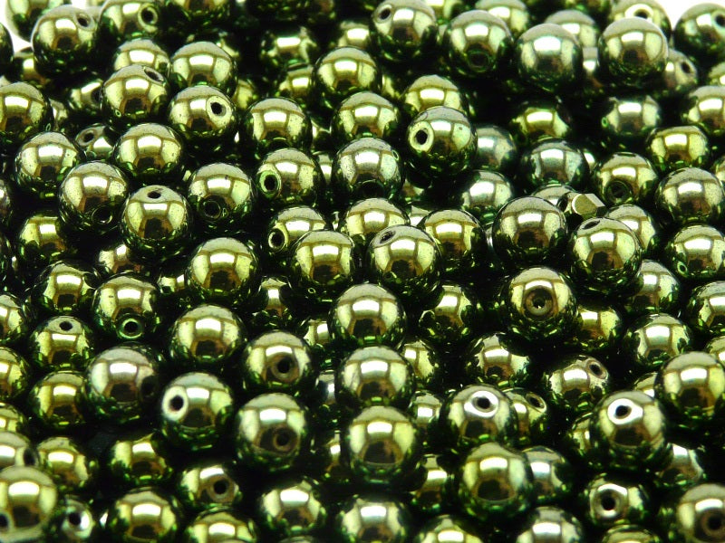 Round Pressed Beads, 6mm, Jet Green Luster, Czech Glass