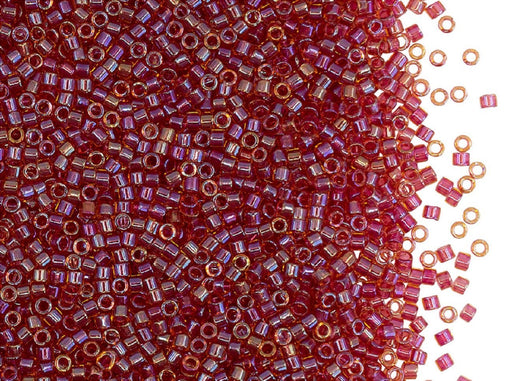 5 g 11/0 Miyuki Delica, Lined Lt. Cranberry AB, Japanese Seed Beads
