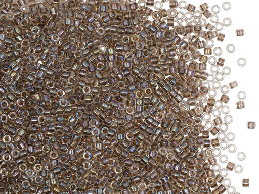 5 g 11/0 Miyuki Delica, Taupe Lined Crystal AB, Japanese Seed Beads