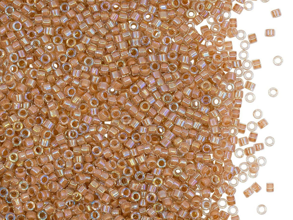 5 g 11/0 Miyuki Delica, Lined Beige AB, Japanese Seed Beads