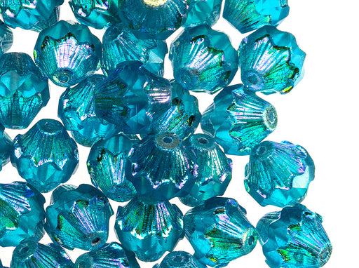 12 pcs Fire Polished Faceted Lantern Baroque Bicone Beads, 11x10mm, Aqua Transparent AB Luster, Czech Glass