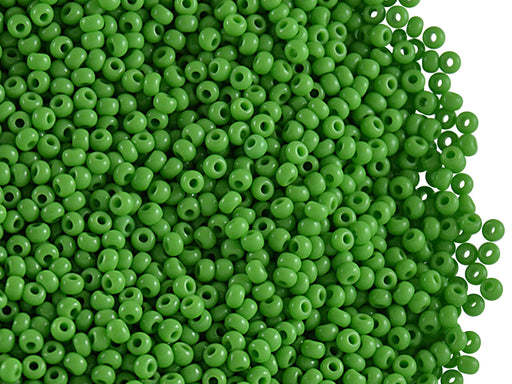 20 g 11/0 Seed Beads Preciosa Ornela, Green Opaque, Czech Glass