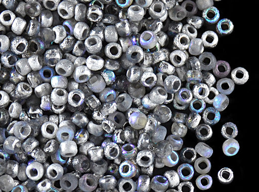 10 g 11/0 Etched Seed Beads, Etched Crystal Silver Rainbow, Czech Glass