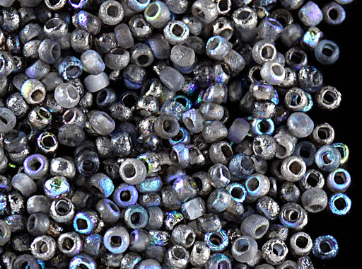 10 g 11/0 Etched Seed Beads, Etched Crystal Graphite Rainbow, Czech Glass