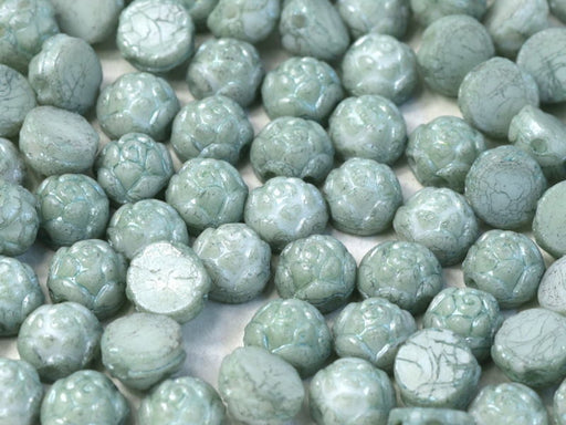 Rosetta Cabochons 6 mm, 2 Holes, Chalk White Teal Luster, Czech Glass
