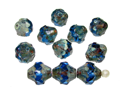 12 pcs Fire Polished Faceted Lantern Baroque Bicone Beads, 11x10mm, Blue Transparent Travertine Dark, Czech Glass