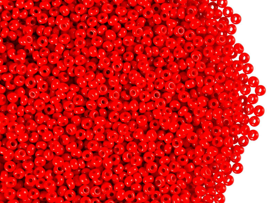 20 g 11/0 Seed Beads Preciosa Ornela, Red Coral Opaque, Czech Glass