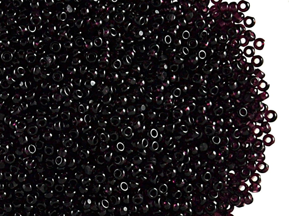 10 g 11/0 1-Cut Seed Beads Charlotte Preciosa Ornela, Dark Amethyst Transparent, Czech Glass