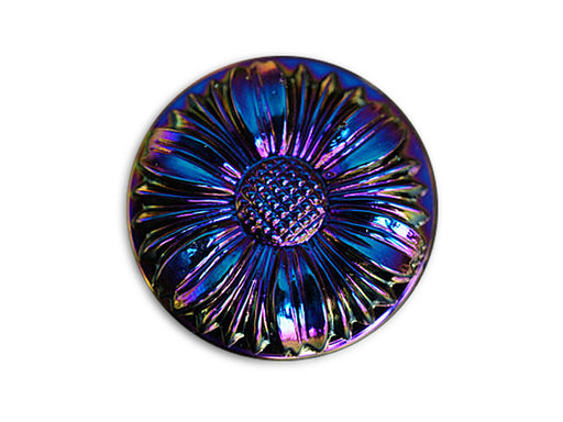 1 pc Czech Glass Button, Flower Dark Blue, Size 12 (27mm)