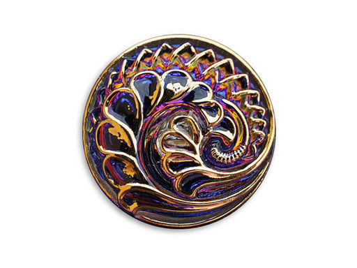 1 pc Czech Glass Button, Purple Vitrail Gold, Size 12 (27mm)