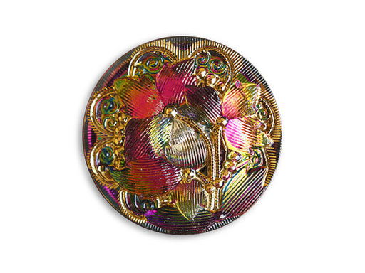 1 pc Czech Glass Button, Purple Orange Vitrail Gold, Size 12 (27mm)