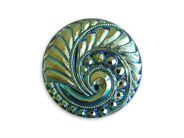 1 pc Czech Glass Button, Light Chrysolite AB Gold Ornament, Hand Painted, Size 12 (27mm)