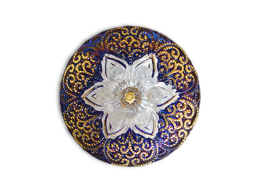 1 pc Czech Glass Button, Blue Vitrail Gold White with Rhinestones, Hand Painted, Size 12 (27mm)