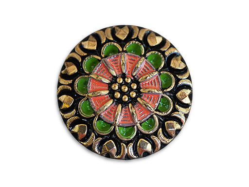 1 pc Czech Glass Button, Black Gold Green Pink Ornament, Hand Painted, Size 12 (27mm)