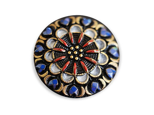 1 pc Czech Glass Button, Black Blue Gold White Red Ornament, Hand Painted, Size 12 (27mm)