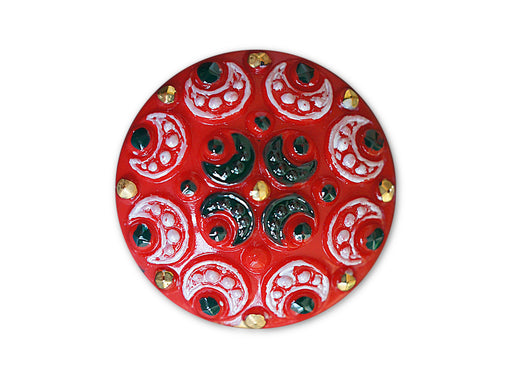 1 pc Czech Glass Button, Coral Red White Black Ornament, Hand Painted, Size 12 (27mm)
