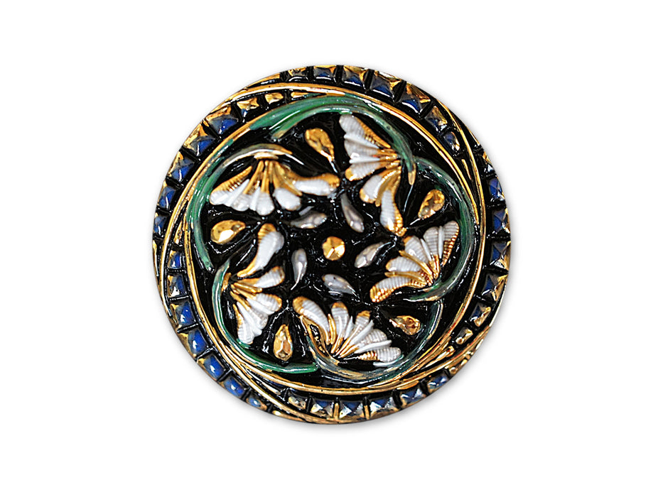 1 pc Czech Glass Button, Black Gold Blue with Flowers, Hand Painted, Size 12 (27mm)
