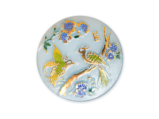 1 pc Czech Glass Button, Light Blue Blue Flowers Birds, Hand Painted, Size 12 (27mm)