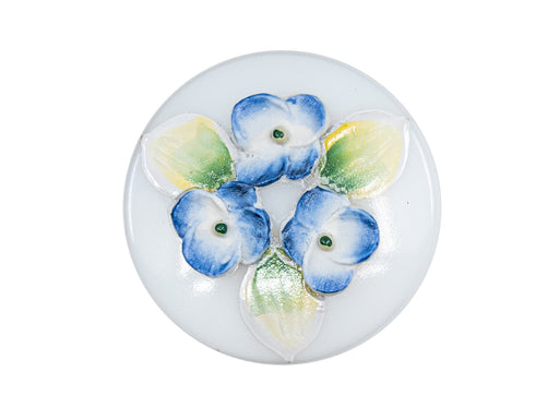 1 pc Czech Glass Button Hand Painted, Size 12 (27.0mm | 1 1/16''), Violets on White, Czech Glass