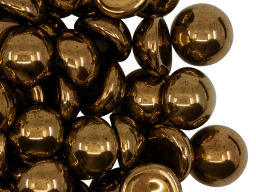 10 pcs Czech Glass Cabochons 12 mm, Dark Gold Metallic, Czech Glass