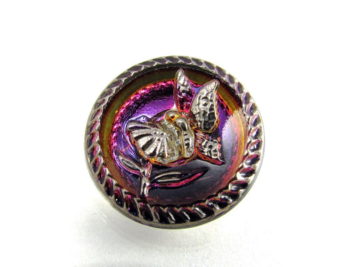 Czech Glass Button Hand Painted, Size 10 (22.5mm | 7/8''), Volcano Silver, Czech Glass