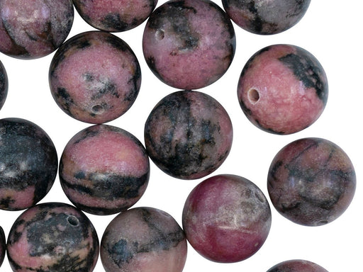 Natural Stones Round Beads 12 mm, Rhodonite, Minerals, Russia