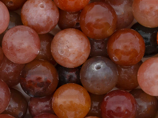 5 pcs Natural Stones Round Beads 12 mm, Chalcedony Agate Brown Pink, Minerals, Russia
