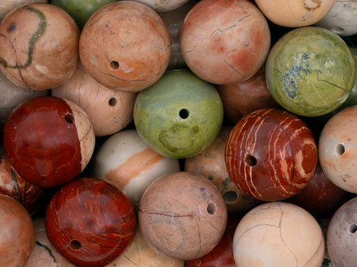 5 pcs Natural Stones Round Beads 12 mm, Jasper, Minerals, Russia