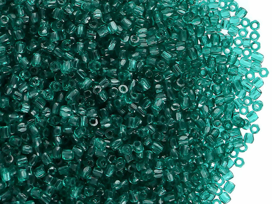 10 g 12/0 3-Cut Seed Beads Preciosa Ornela, Green Emerald Transparent, Czech Glass